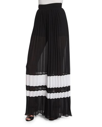High-Waist Pleated Wide-Leg Pants, Black/White
