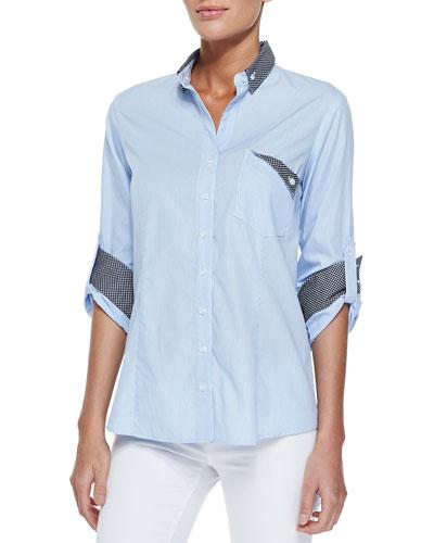 Mr. French Long-Sleeve Contrast Dress Shirt