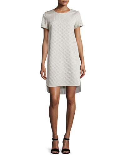 Short-Sleeve Matelasse Shift Dress, Pearl