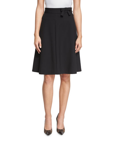 A-Line Skirt with Bow Detail, Black
