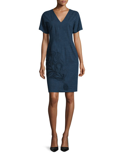 Short-Sleeve Embroidered Dress, Indigo