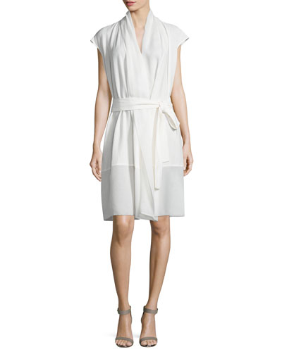 Cap-Sleeve Wrap Dress, Off White