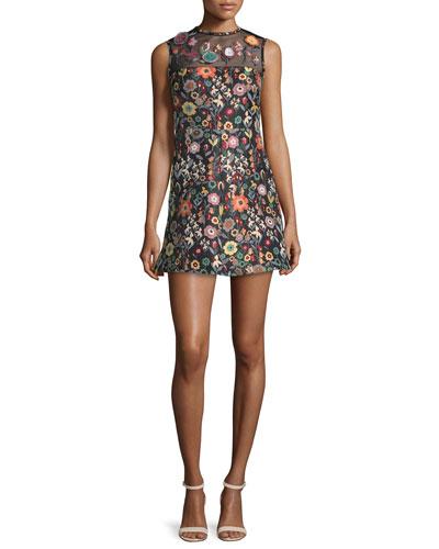 Sleeveless Jewel-Neck Floral Mini Dress, Black