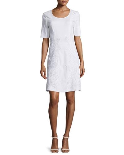 Short-Sleeve Embroidered Dress, White