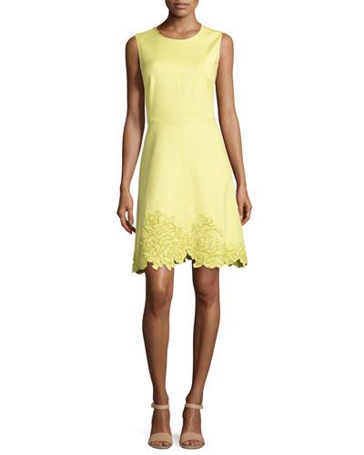 Embroidered-Hem Spring Dress, Chartreuse