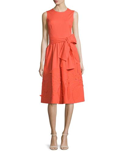 Sleeveless Embroidered Dress, Parade Orange