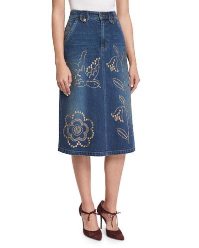 Grommet-Embellished Denim Skirt, Denim