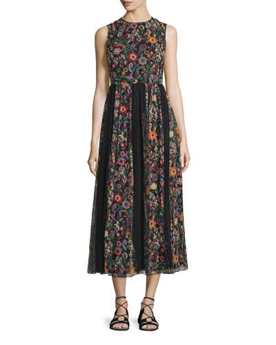 Fancy Flower Sleeveless Midi Dress, Black