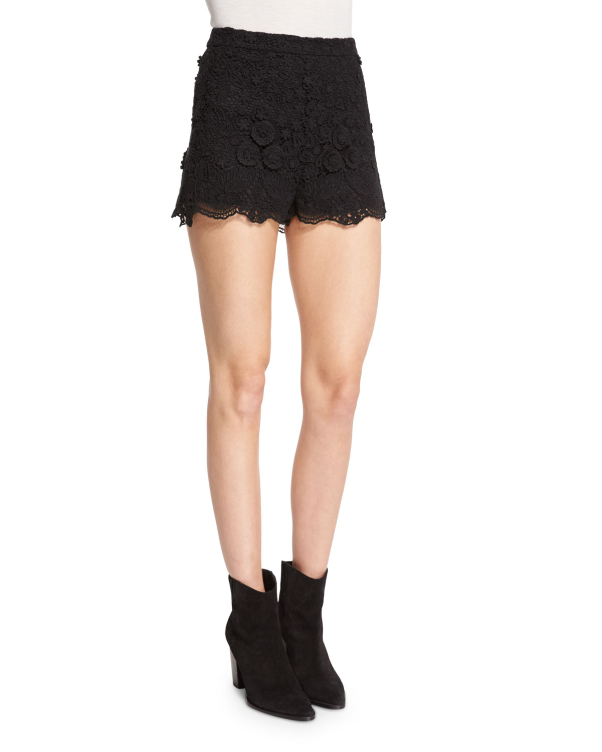 Macrame Scalloped Shorts, Black
