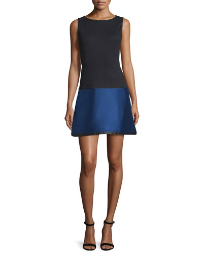 Lydia Sleeveless Colorblock Dress, Black/Sapphire