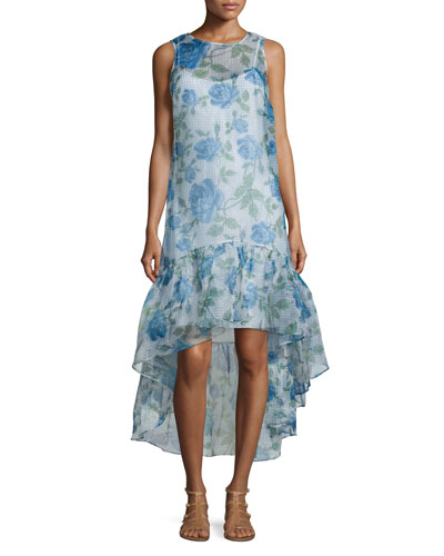 Trianon Sleeveless Floral-Print Gown, Ivory/Multi