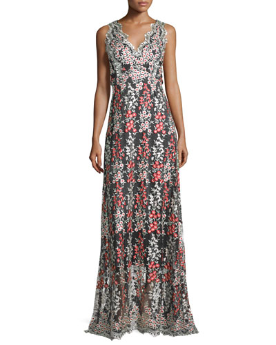 Sleeveless Wisteria-Embroidered Gown, Black/Multi