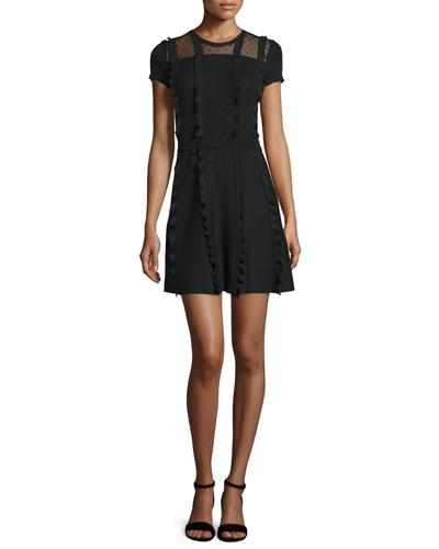 Short-Sleeve Point d'Esprit-Inset Dress, Black