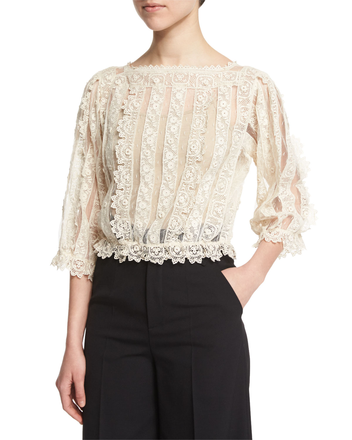 3/4-Sleeve Lace & Macrame Top, Ivory