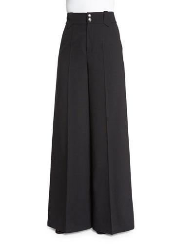 High-Waist Wide-Leg Trousers, Black