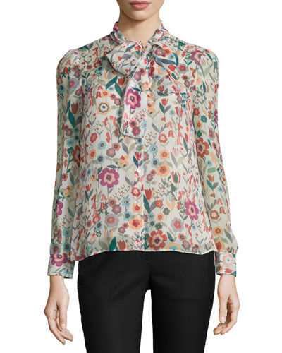 Button-Front Tie-Neck Floral-Print Blouse, Ivory