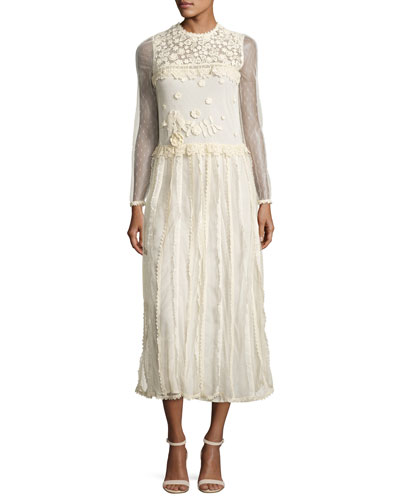 Long-Sleeve Lace & Macrame Midi Dress, Ivory