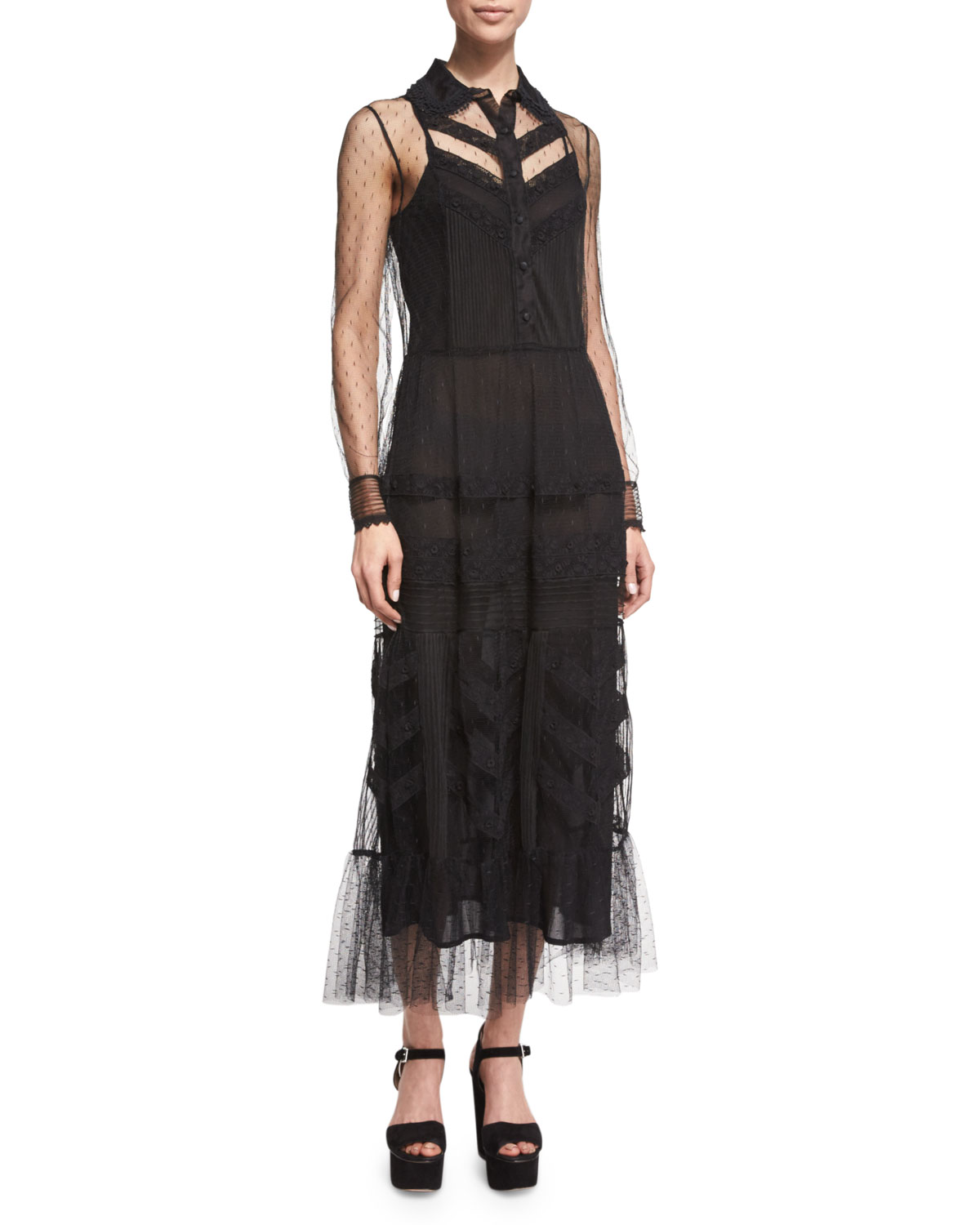 Button-Front Lace & Macrame Midi Dress, Black