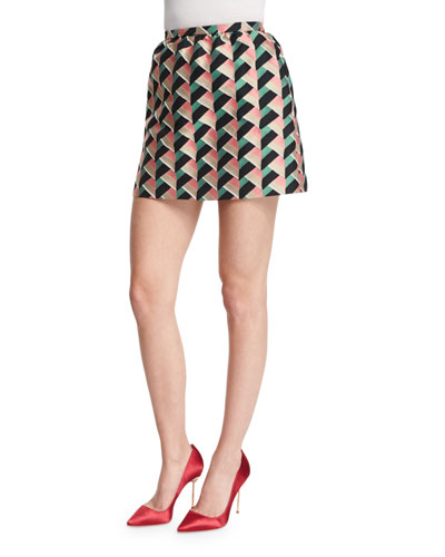 Geometric-Print Jacquard Skirt, Pink
