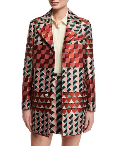 Geometric-Print Jacquard Topper Jacket, Rust