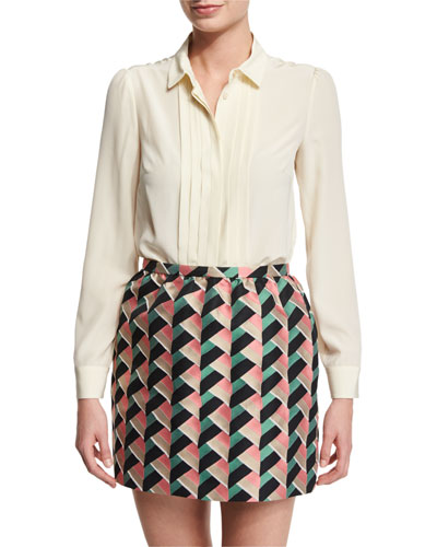 Long-Sleeve Pleated-Front Silk Blouse