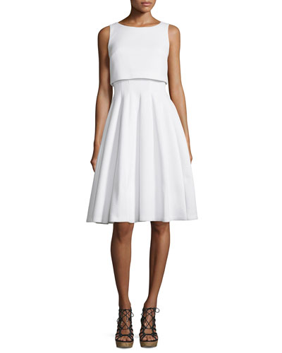 Sleeveless Popover Fit-&-Flare Dress, White
