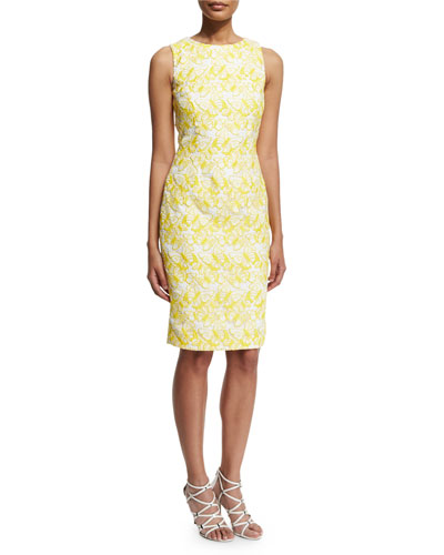 Sleeveless Jacquard Sheath Dress, Yellow/White