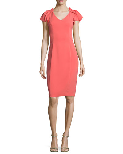 Pleated-Sleeve Sheath Dress, Bright Coral