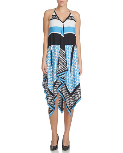 Sleeveless Sequin-Print Handkerchief Dress