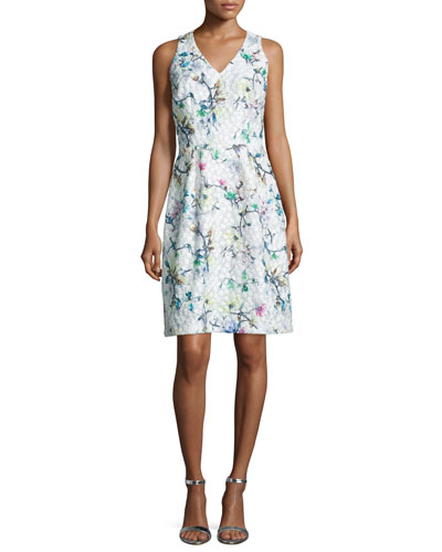Sleeveless Floral Jacquard Dress