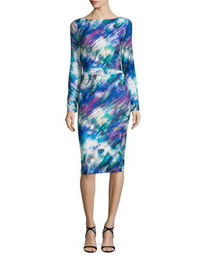 Long-Sleeve Printed Sheath Dress, Multi Colors