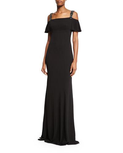 Cold-Shoulder Embellished Gown, Black