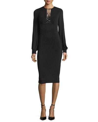 Long-Sleeve Beaded-Keyhole Sheath Dress