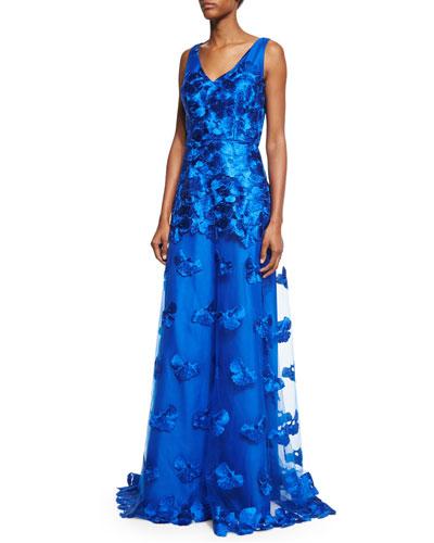 Sleeveless Floral-Appliqué A-Line Gown, Blue