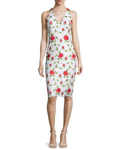 Sleeveless Floral-Embroidered Cocktail Dress, Multi Colors