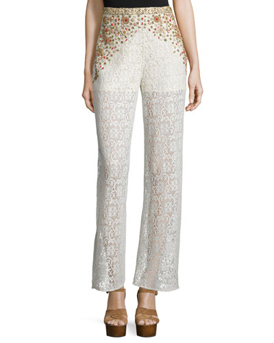 Beaded Crochet-Lace Wide-Leg Pants, Ivory