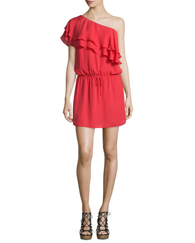 Silk One-Shoulder Ruffle Dress, Battle Red