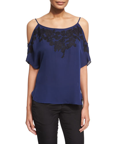 Lace-Trim Cold-Shoulder Silk Chiffon Top, Midnight/Black