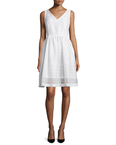 ribbon organza fit-and-flare dress, fresh white