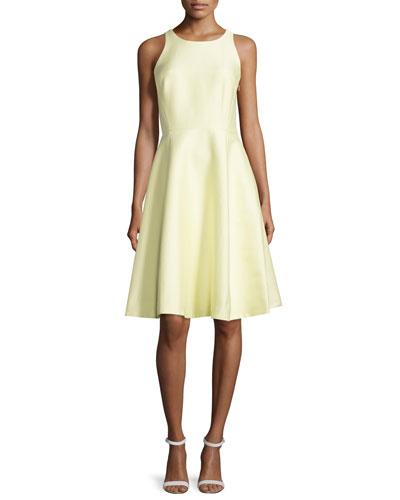 sleeveless open bow-back dress, lemon souffle