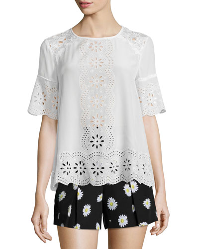embroidered daisy eyelet swing top, cream