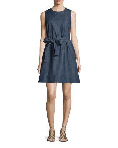 tie-waist denim fit & flare dress