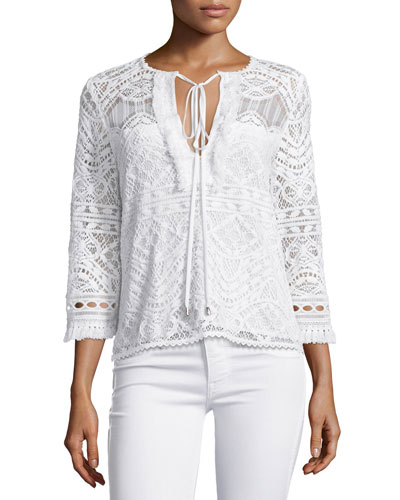 3/4-Sleeve Lace Embroidered Top