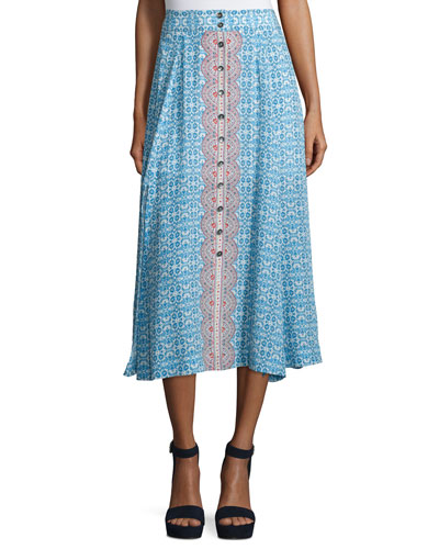Button-Front Printed Silk Midi Skirt, Blue/Multi