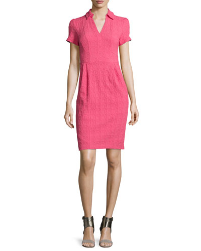 Short-Sleeve Textured Sheath Dress, Azalea
