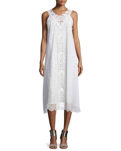 Sleeveless Lace A-line Midi Dress