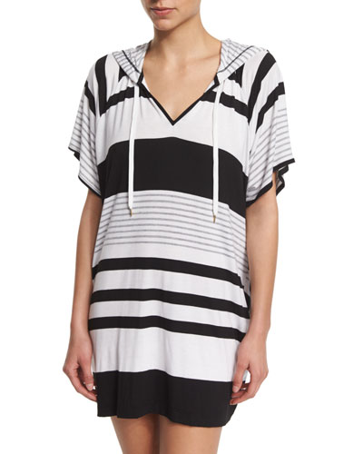 Between The Lines Striped Pullover Hoodie Coverup