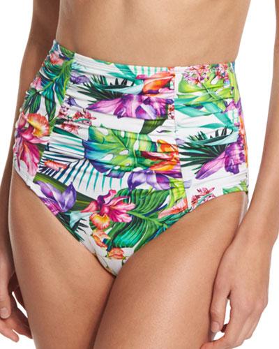 Floral-Print Ultra High-Rise Swim Bottoms