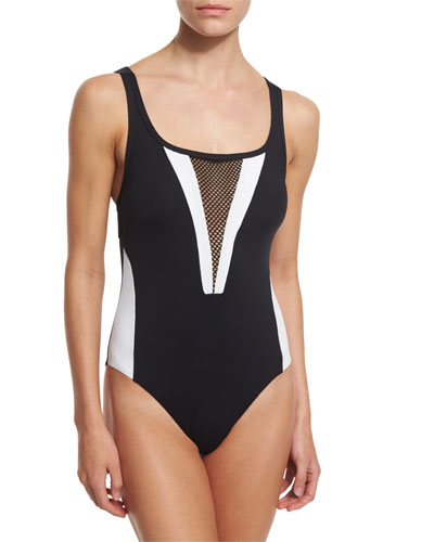 Game Set Mesh-Cutout One-Piece Swimsuit
