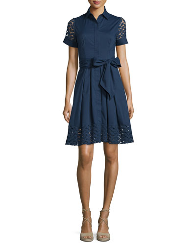 Short-Sleeve Belted A-line Shirtdress